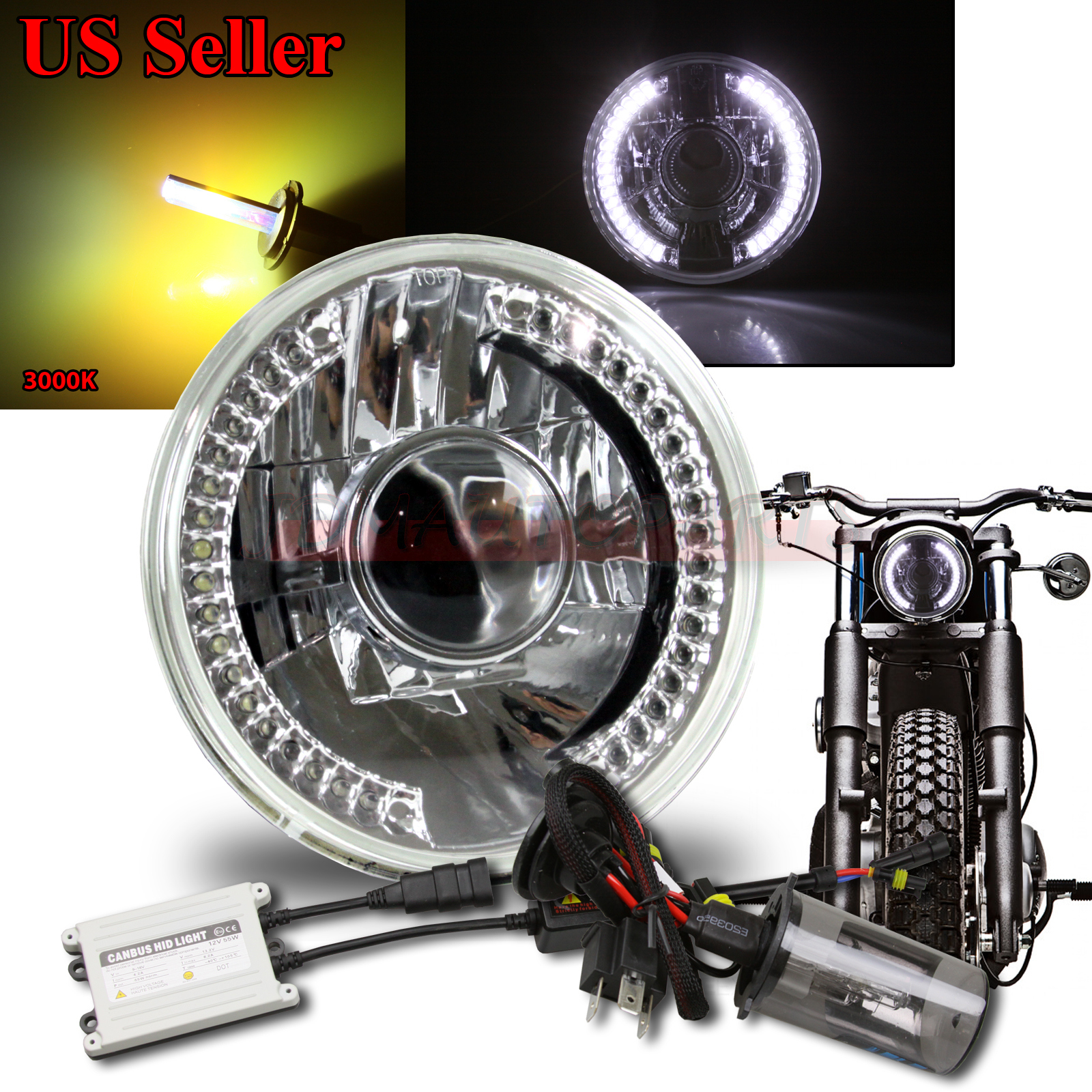 WHITE LED SIGNAL7 ROUND CLEAR PROJECTOR HEADLIGHT BUCKET W
