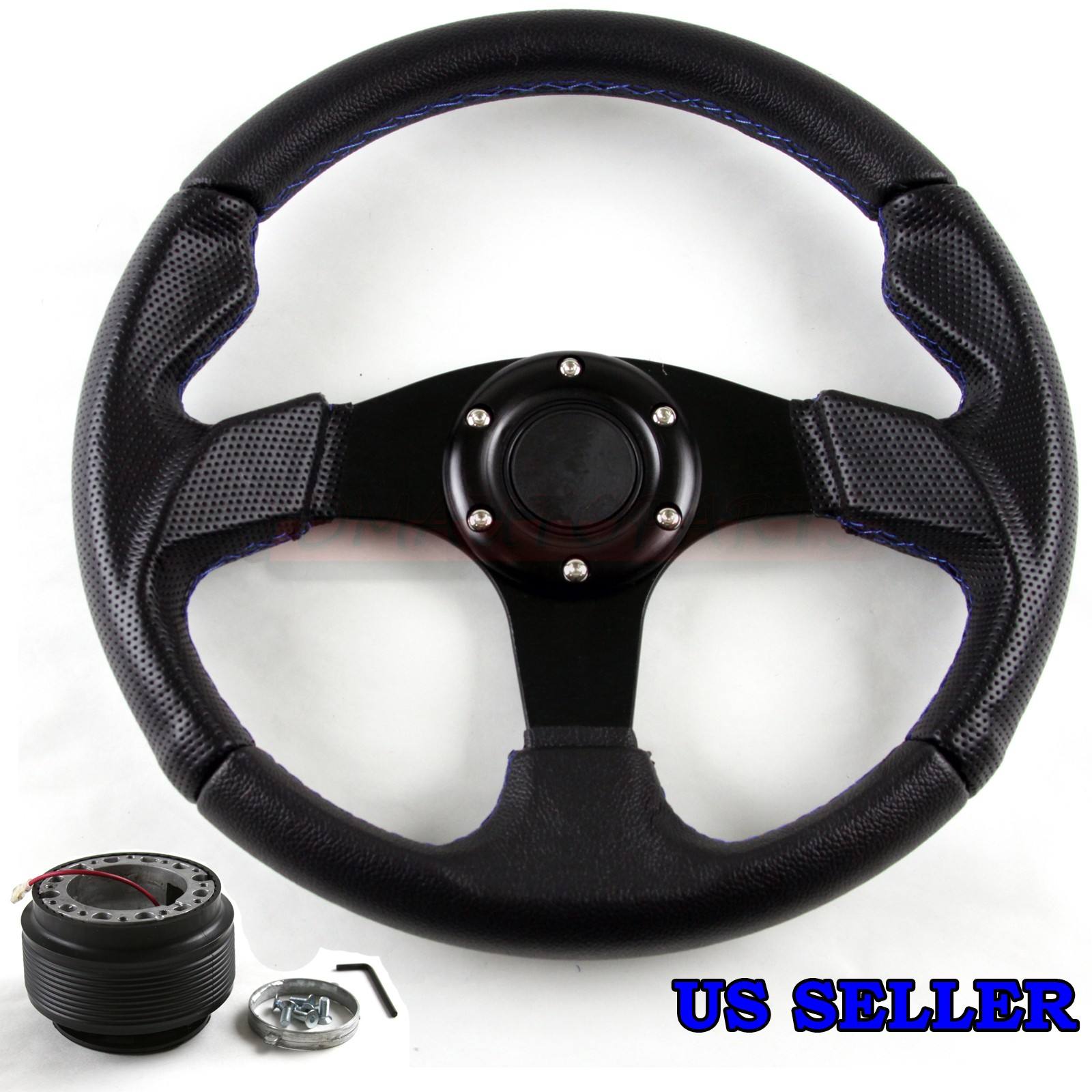 FOR ACURA RSX DC MM BLUE STITCH PVC RACING STEERING WHEEL - Acura rsx steering wheel
