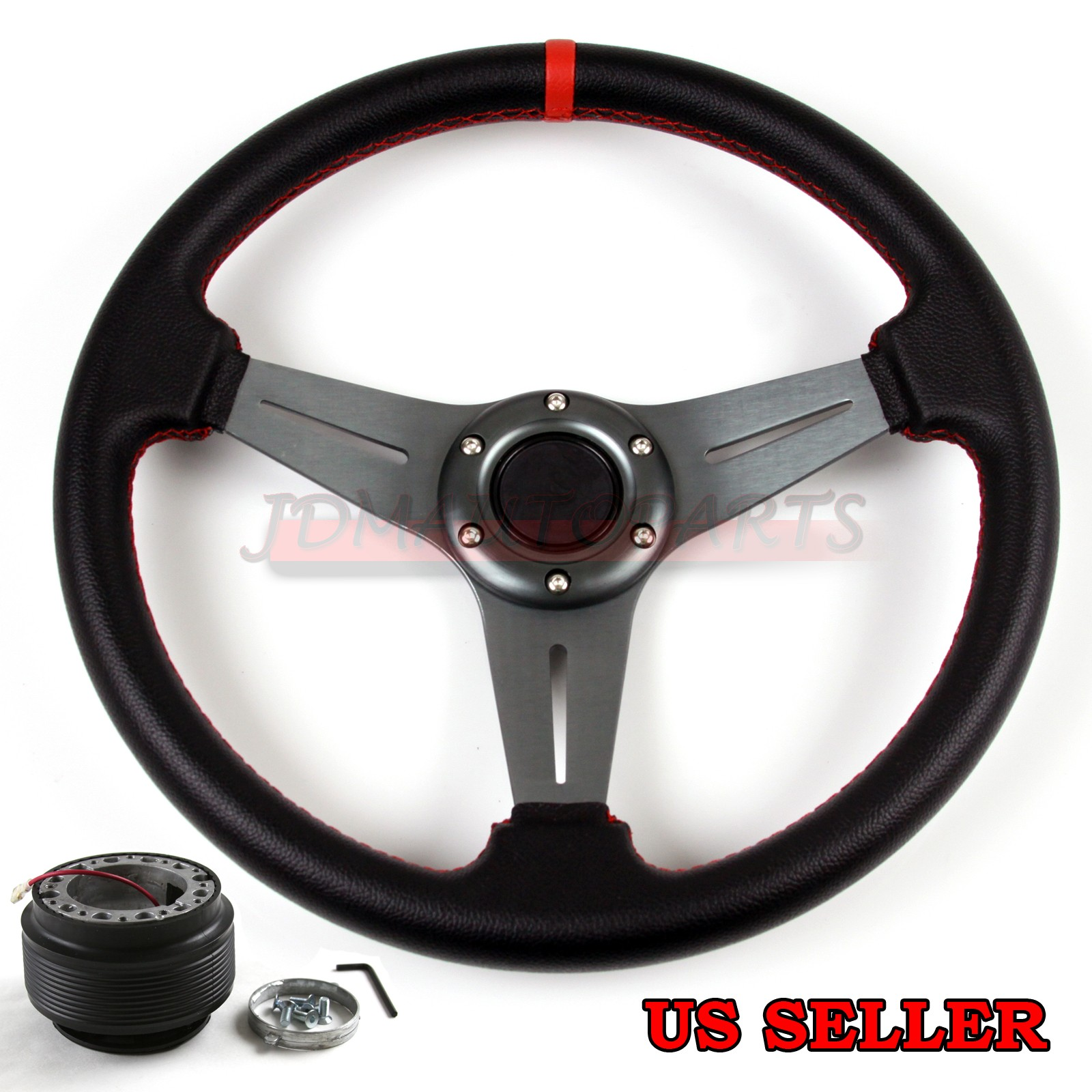 FOR ACURA RSX DC MM RED STITCH GUNMETAL LEATHER STEERING - Acura rsx steering wheel